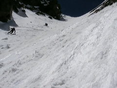 Rock Climbing Photo: Making big turns in the Cross Couloir.