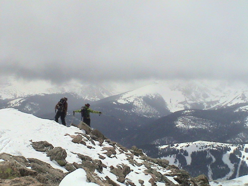 Finding our ski line off the summit of Bierstadt