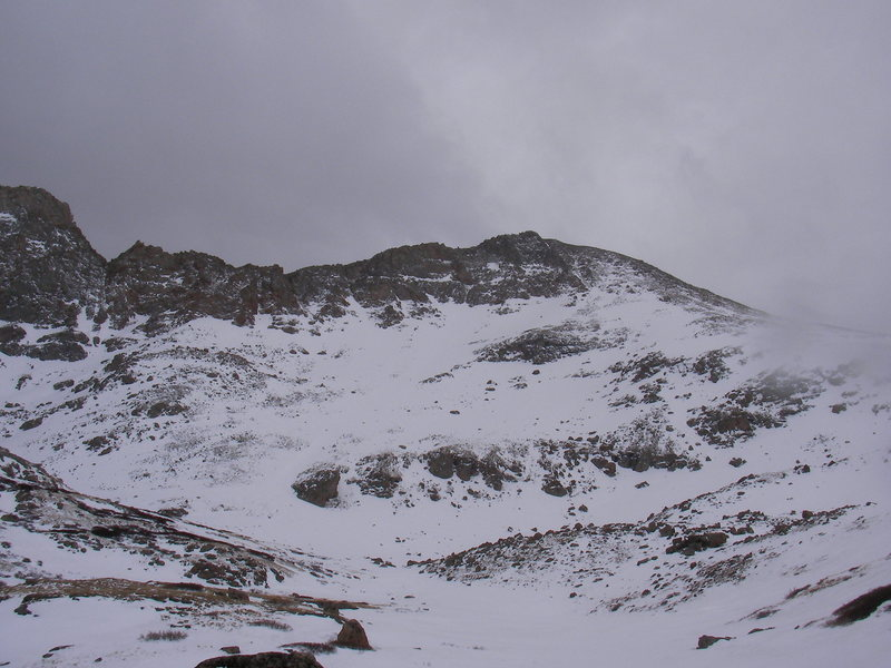 Rock Climbing Photo: I skied down the right side and weaved in and out ...