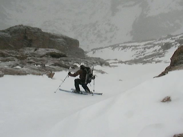 Austin Porzak skiing off the summit of Longs Peak