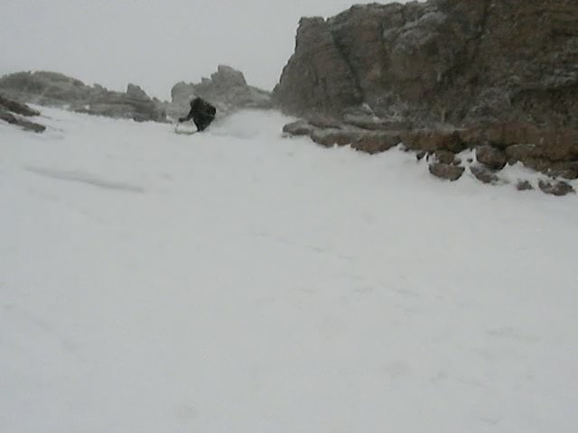 Skiing down Longs peak, almost at the Ledge Traverse