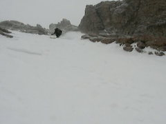 Rock Climbing Photo: Skiing down Longs peak, almost at the Ledge Traver...