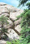 Rock Climbing Photo: Serpentine Crack (5.8), Mosaic Rock, Tres Piedras,...