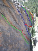 Rock Climbing Photo: Quixote is the red line which joins the blue line ...