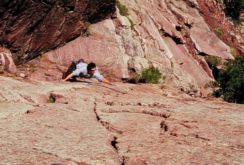 Rock Climbing Photo: Jason Haas sets up for the reachy crux of 'The Thr...