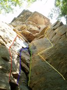 Rock Climbing Photo: Red - Rude Awakenings, Blue - Monster Movie, Green...
