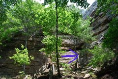 Rock Climbing Photo: Actual cleft is where the arrow points.  Vanderbil...
