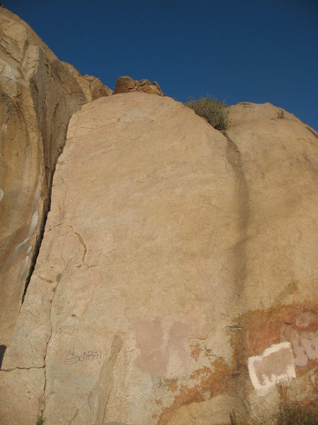 Smooth Sole Slab with (l-r) The Jamcrack (5.4), Smooth Sole Direct (5.11a) and Right (5.10c), Mt. Rubidoux.
