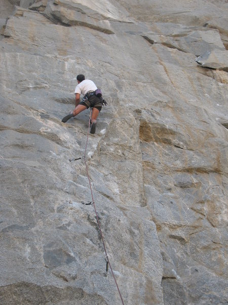 Rock Climbing Photo: At the crux on Original Sin (5.11a), Riverside Qua...