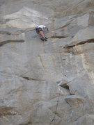 Rock Climbing Photo: Just below the upper crux of Violator (5.11c), Riv...