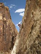Rock Climbing Photo: Paul starting The Dark Side. photo Layne Potter