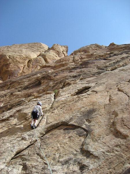 Rock Climbing Photo: Andy on The Dark Side .. Photo Layne  Potter