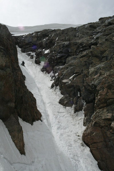 Nathan at the crux, he didn't manage the runnel very well and....