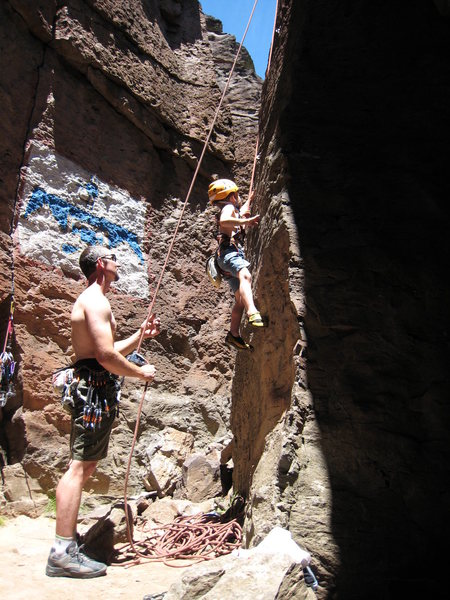 Cody at the beginning of a clean TR ascent of <em>Unnamed 5.7</em> in The Pit. June 1, 2008.