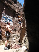 Rock Climbing Photo: Cody at the beginning of a clean TR ascent of Unna...