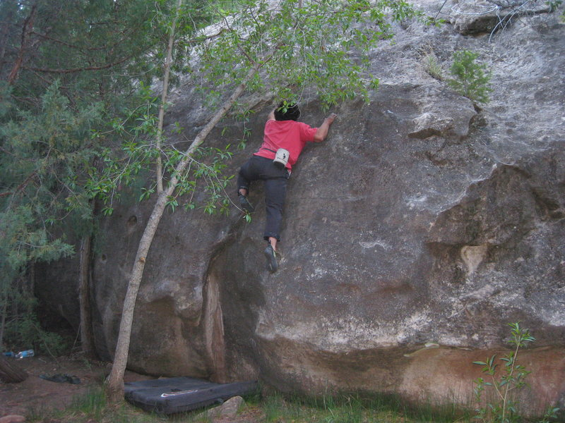 Rock Climbing Photo: J worming up, just on the left hand side of the cr...
