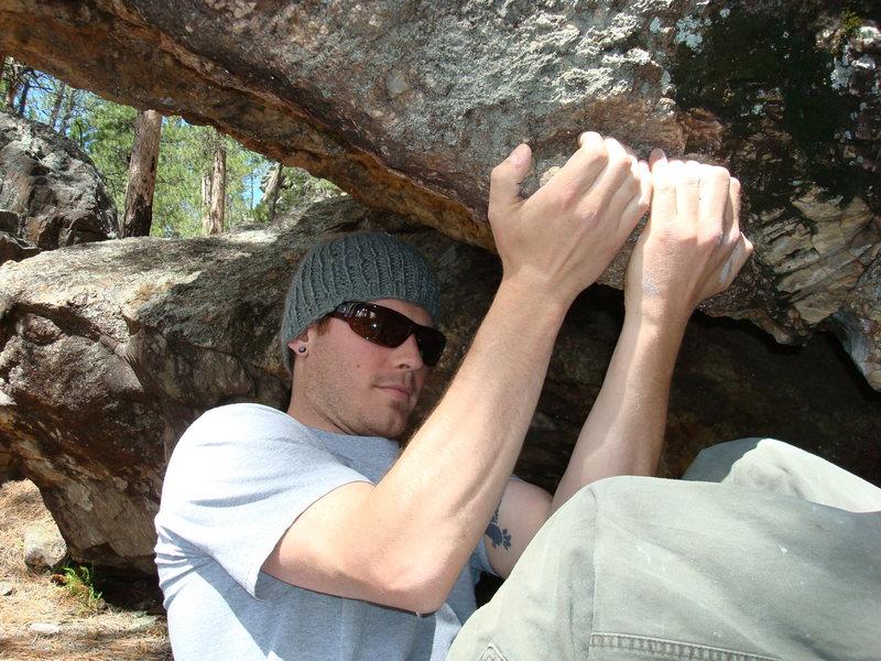 "Rock Climbing Photo: Dana on the start hold of ""C.U.P"""