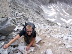 Gib feeling the exposure on his first 14er. Maybe the class 3 ridge was a little much...nah.