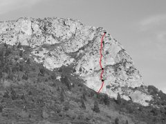 Rock Climbing Photo: Viewed from the northwest, the route generally fol...
