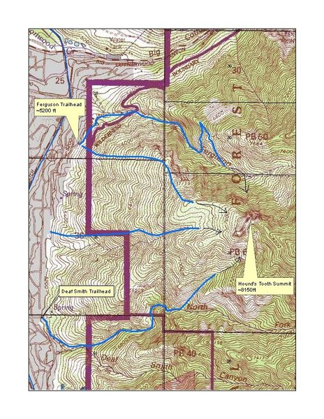 Hound's Tooth approach routes.  USGS 7.5' quadrangle clip.