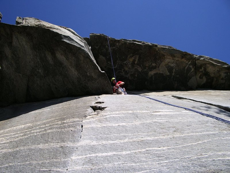 Rock Climbing Photo: Belay station on The Granola Route, Rumbling Bald