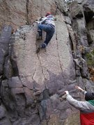 Rock Climbing Photo: Tony topping out on John Gill's Flatiron at the to...