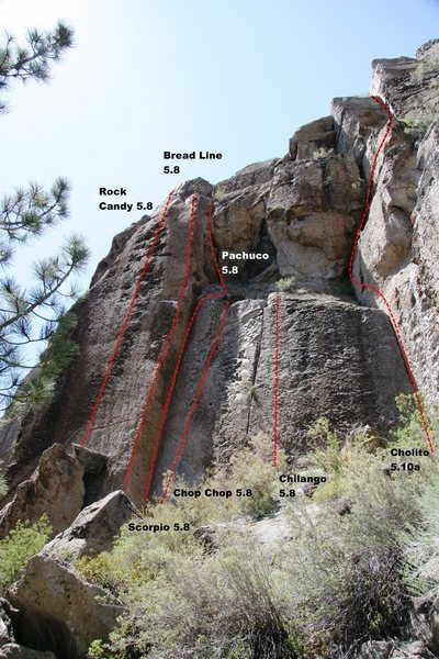 Rock Climbing Photo: Area 13 - Center Topo