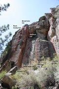 Rock Climbing Photo: Area 13 - Center Topo