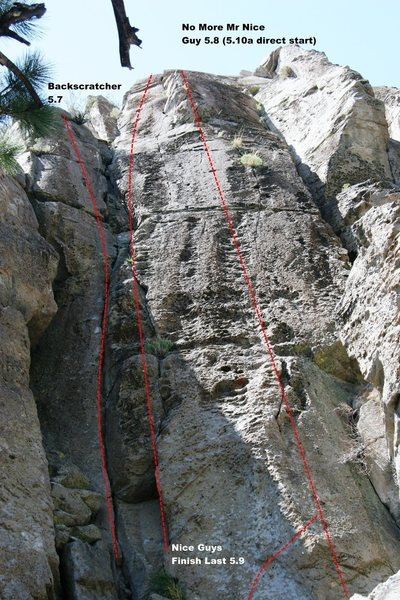 Rock Climbing Photo: Area 13 - Right Side Topo