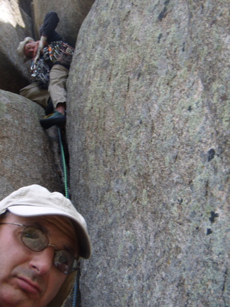Bill Duncan Leading and Michael Colacino belaying on Corinthian Column 5.9,  Lumpy Ridge, CO May 2008.