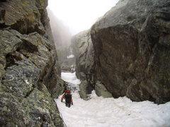 Rock Climbing Photo: Jordon heading up into the wet, mushy, cold shower...