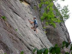 Rock Climbing Photo: Tom leading Thin Air