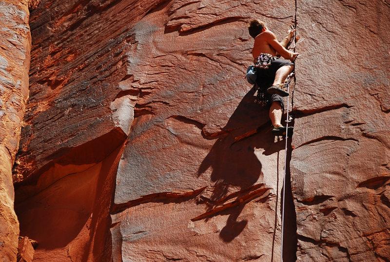 Rock Climbing Photo: Placing gear on Pink Flamingo