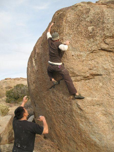 Making the crux reach on Culpability (V4), Culp Valley