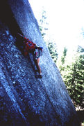 Rock Climbing Photo: Approaching the crux - the bolt at the crux was pl...