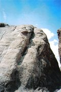Rock Climbing Photo: Climber near the top of the first pitch. View to f...