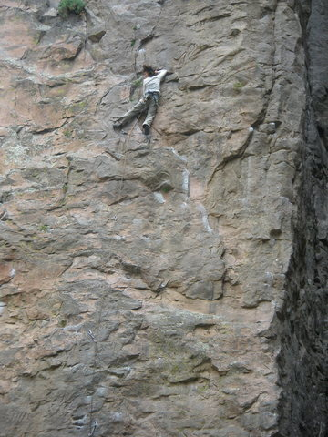 Great sustained climbing that makes you think out the moves. A good rain to wash off the chalk would increase the grade by a letter. <br>
