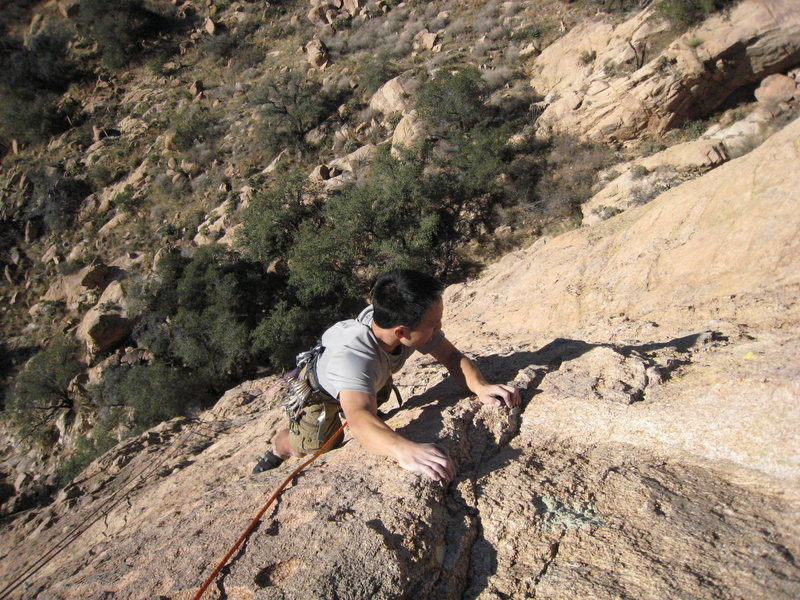 Rock Climbing Photo: My partner nearing the top of IoY.  I like how all...