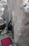 Rock Climbing Photo: The start of Miledi (V3 R), Joshua Tree NP. Photo ...