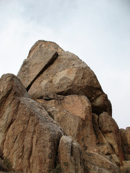 Coyote Melon (5.7+) is the obvious slanting crack on GoldenEye Spire, JTNP.