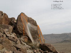Rock Climbing Photo: Goldfinger Rock at the Safe Zone, Joshua Tree NP