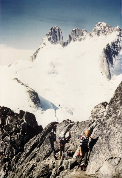 Bugaboo Spire: 1974<br> <br> Bob Dodds and Wendy Weiss third-classing the Kain Route.