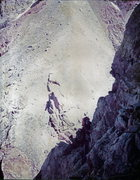 Rock Climbing Photo: Middle Teton: 1975  Wendy Weiss on the North Ridge...