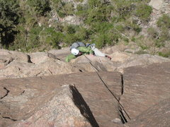 Rock Climbing Photo: Man, pulling over the first 5.10a crux of P3 is to...
