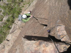 Rock Climbing Photo: Jamming the wonderful hand crack below the 5.10c c...