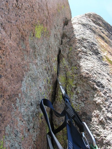 Rock Climbing Photo: Looking up the thin crack before I set my next lad...