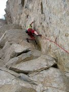 Rock Climbing Photo: Moving past the 4th bolt on Lowrider (5.10a), Rive...