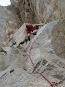 Rock Climbing Photo: Making the tenuous moves onto the finishing slab o...