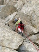 Rock Climbing Photo: Clipping the 3rd bolt on Leapfrog (5.9), Riverside...