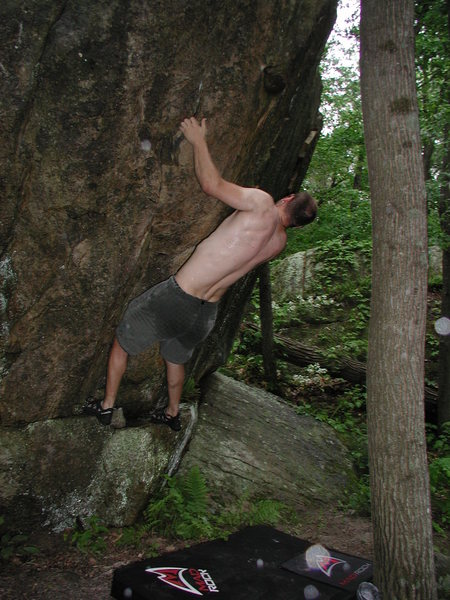 Rock Climbing Photo: Nic, trying to make use of this overhanging route ...